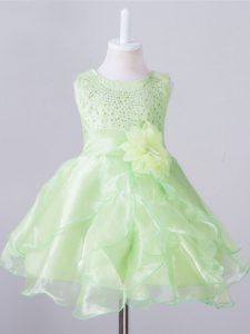Knee Length Zipper Little Girls Pageant Gowns Yellow Green for Wedding Party with Beading and Hand Made Flower