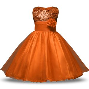 New Arrival Ball Gowns Flower Girl Dresses Rust Red Scoop Organza and Sequined Sleeveless Knee Length Zipper