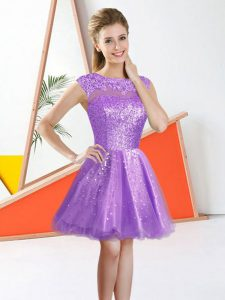 Top Selling Sleeveless Organza Knee Length Backless Quinceanera Court Dresses in Lilac with Beading and Lace