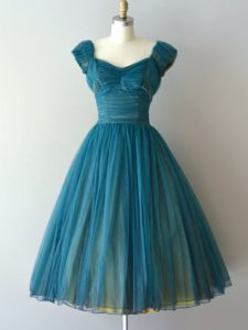 Nice Knee Length Teal Quinceanera Court of Honor Dress V-neck Cap Sleeves Zipper