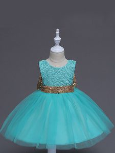 Adorable Aqua Blue Scoop Neckline Lace and Bowknot Toddler Flower Girl Dress Sleeveless Zipper
