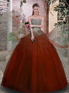Dramatic Floor Length Rust Red Quinceanera Dresses Strapless Sleeveless Lace Up