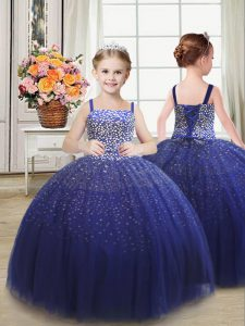 Dramatic Royal Blue Ball Gowns Beading Pageant Gowns For Girls Lace Up Tulle Sleeveless Floor Length