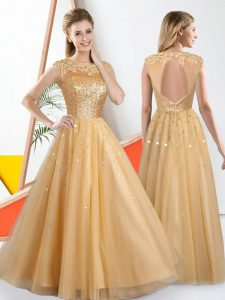 Elegant Champagne A-line Beading and Lace Quinceanera Dama Dress Backless Tulle Sleeveless Floor Length
