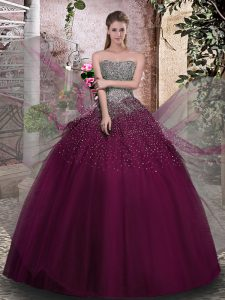 Shining Purple Ball Gowns Tulle Strapless Sleeveless Beading Floor Length Lace Up Quinceanera Gown