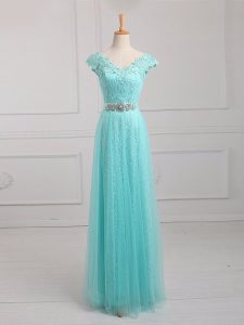 Artistic Floor Length Aqua Blue Mother of Bride Dresses V-neck Cap Sleeves Lace Up