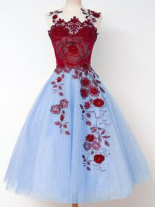 Blue Tulle Lace Up Straps Sleeveless Knee Length Quinceanera Court of Honor Dress Appliques