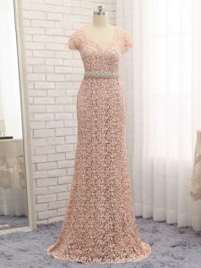 Peach Lace Zipper Mother of Groom Dress Cap Sleeves Floor Length Beading and Belt
