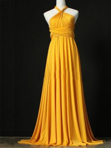 Top Selling Halter Top Sleeveless Sweep Train Criss Cross Damas Dress Orange Chiffon