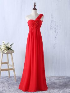 Floor Length Red Vestidos de Damas Chiffon Sleeveless Hand Made Flower