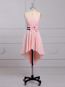 Fantastic Baby Pink Lace Up Strapless Ruching and Bowknot Dama Dress for Quinceanera Chiffon Sleeveless