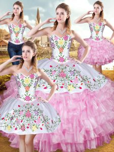 Customized Rose Pink Ball Gowns Embroidery and Ruffled Layers Quinceanera Gown Lace Up Organza and Taffeta Sleeveless Floor Length