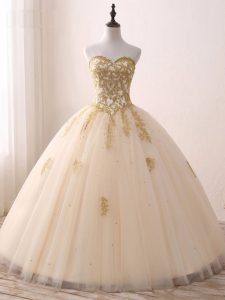 Free and Easy Champagne Sweetheart Neckline Beading and Lace and Appliques Quinceanera Gown Sleeveless Lace Up