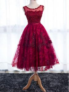 Fuchsia Scoop Zipper Lace Quinceanera Court of Honor Dress Sleeveless