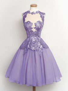 Custom Design A-line Court Dresses for Sweet 16 Lilac High-neck Chiffon Sleeveless Knee Length Lace Up