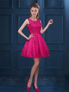Hot Pink Tulle Zipper Scoop Sleeveless Knee Length Vestidos de Damas Lace and Ruffled Layers
