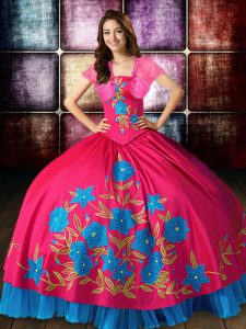Trendy Sleeveless Taffeta Floor Length Lace Up Quinceanera Gowns in Hot Pink with Embroidery