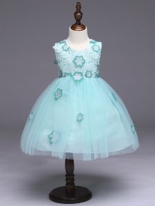 Luxurious Apple Green Ball Gowns Appliques and Bowknot High School Pageant Dress Zipper Tulle Sleeveless Knee Length