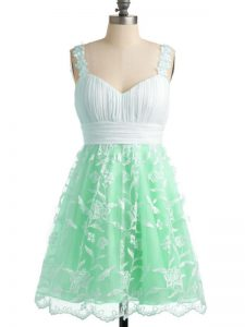 Trendy Straps Sleeveless Lace Up Quinceanera Dama Dress Apple Green Lace