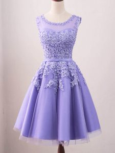 Exceptional Tulle Scoop Sleeveless Lace Up Lace Quinceanera Dama Dress in Lavender