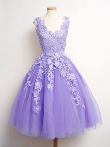 Lavender Tulle Lace Up V-neck Sleeveless Knee Length Quinceanera Dama Dress Lace