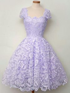 Sumptuous Lavender Vestidos de Damas Prom and Party and Wedding Party with Lace Scoop Sleeveless Lace Up