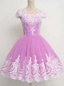 Superior Cap Sleeves Tulle Knee Length Zipper Quinceanera Court Dresses in Lilac with Lace
