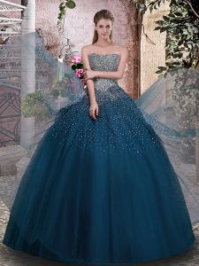 Dazzling Tulle Strapless Sleeveless Lace Up Beading 15th Birthday Dress in Teal