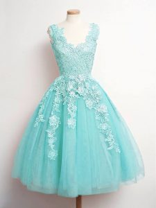 Aqua Blue Tulle Lace Up Quinceanera Dama Dress Sleeveless Knee Length Lace