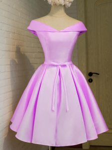 Pretty Lilac Off The Shoulder Neckline Belt Quinceanera Court of Honor Dress Cap Sleeves Lace Up