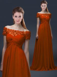 Graceful Rust Red Short Sleeves Chiffon Lace Up Mother Dresses for Prom and Party