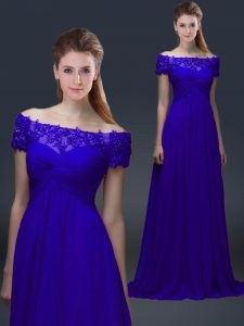 Eye-catching Chiffon Short Sleeves Knee Length Mother of Bride Dresses and Appliques