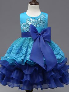 Top Selling Organza Scoop Sleeveless Zipper Lace and Ruffled Layers and Bowknot Kids Formal Wear in Royal Blue