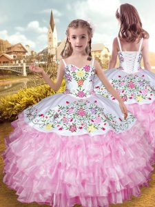 Discount Floor Length Lace Up Little Girl Pageant Dress Rose Pink for Party and Wedding Party with Embroidery and Ruffled Layers
