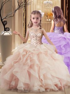 Sleeveless Brush Train Beading and Ruffles Lace Up Kids Formal Wear