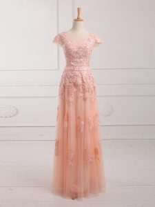 Stunning Peach Empire Scoop Cap Sleeves Tulle Floor Length Lace Up Lace and Appliques and Belt Mother of Bride Dresses