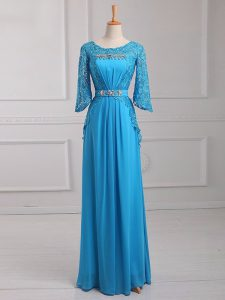 3 4 Length Sleeve Floor Length Beading and Lace and Belt Zipper Mother of the Bride Dress with Baby Blue