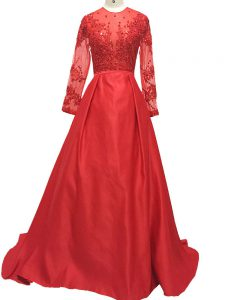 Glamorous Red A-line High-neck Long Sleeves Elastic Woven Satin Brush Train Zipper Lace and Appliques Mother of the Bride Dress