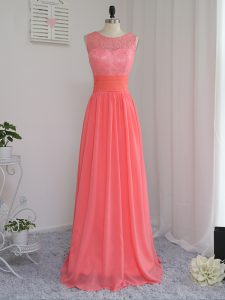 Watermelon Red Sleeveless Floor Length Lace Zipper Dama Dress