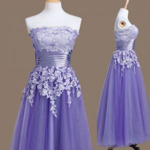 Sleeveless Tulle Tea Length Lace Up Court Dresses for Sweet 16 in Lavender with Appliques