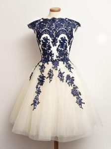 New Arrival Sleeveless Mini Length Appliques Lace Up Vestidos de Damas with Blue And White