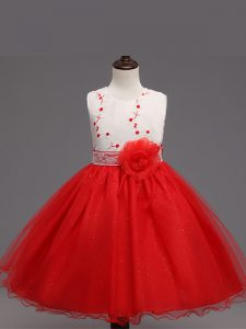 Red Kids Pageant Dress Wedding Party with Appliques and Hand Made Flower Scoop Sleeveless Zipper