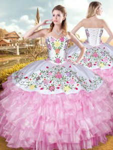 Great Ball Gowns Sweet 16 Dress Rose Pink Sweetheart Organza and Taffeta Sleeveless Floor Length Lace Up