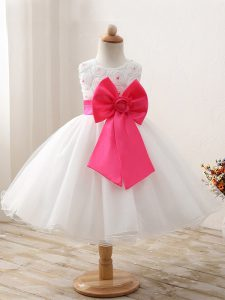 White Scoop Neckline Bowknot Child Pageant Dress Sleeveless Zipper