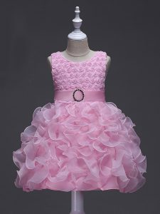 Admirable Rose Pink Scoop Lace Up Ruffles and Belt Custom Made Pageant Dress Sleeveless