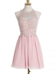 Pink Sleeveless Knee Length Appliques Lace Up Quinceanera Court of Honor Dress