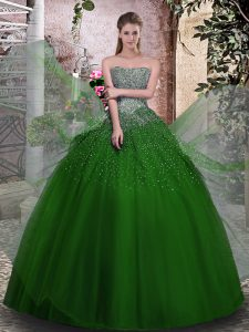 Fantastic Ball Gowns Sweet 16 Quinceanera Dress Green Strapless Tulle Sleeveless Floor Length Lace Up