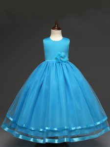 Glorious Baby Blue Little Girls Pageant Dress Wholesale Wedding Party with Hand Made Flower Scoop Sleeveless Zipper