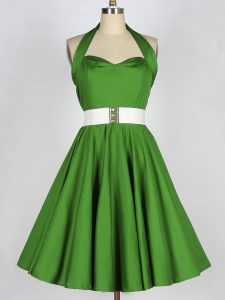 Green A-line Halter Top Sleeveless Taffeta Knee Length Lace Up Belt Quinceanera Dama Dress