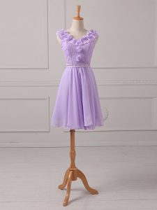 Lavender Chiffon Lace Up V-neck Sleeveless Mini Length Quinceanera Court of Honor Dress Lace and Appliques